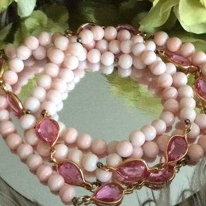 Jewelry - Vintage 💞PINK opal ROSE Quartz 💞long necklace